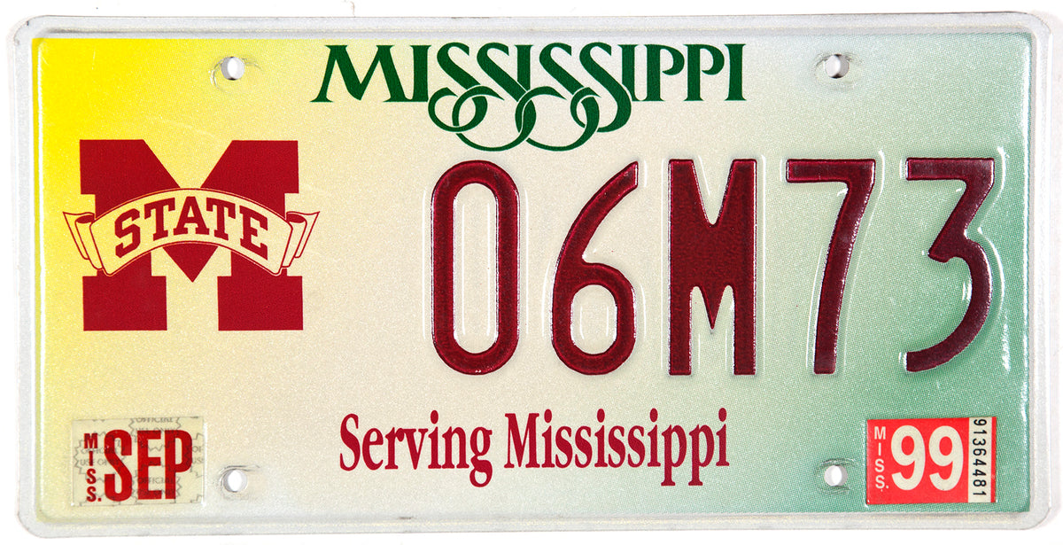 1999 Mississippi State College car license plate