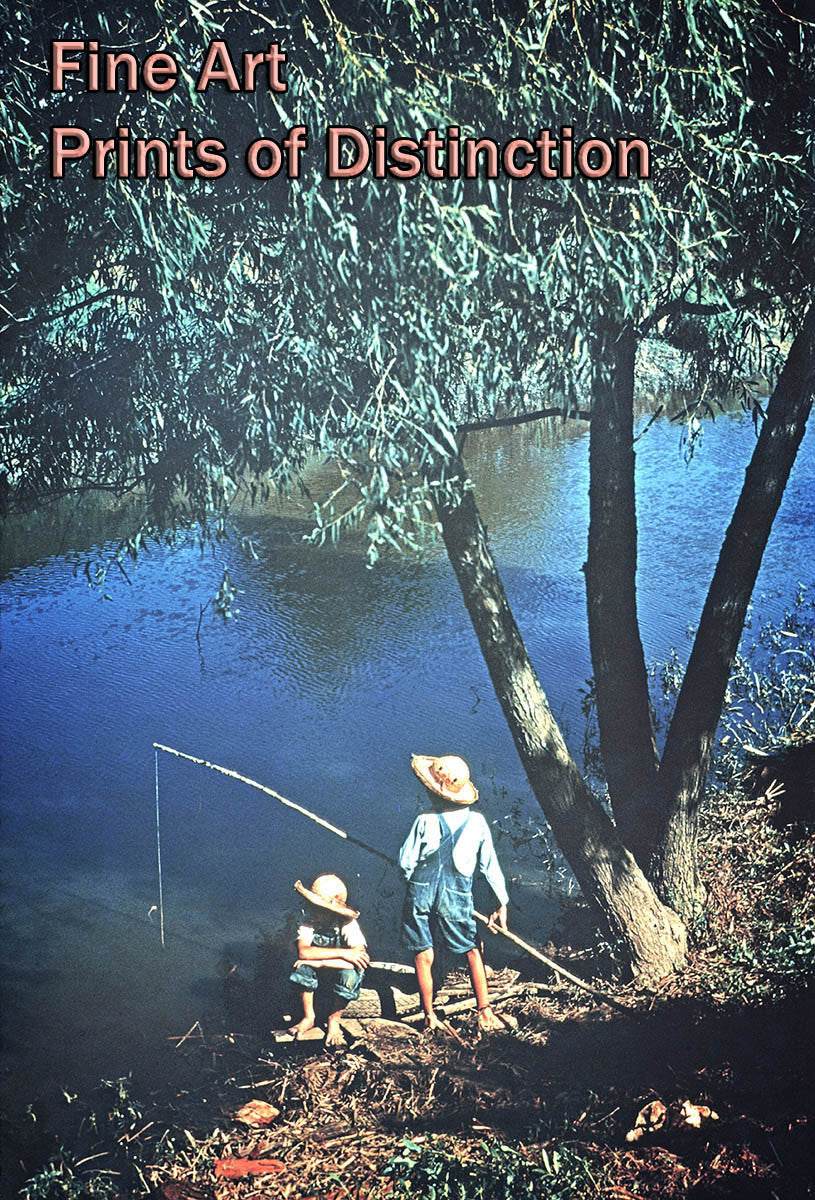 Boy's Fishing in the River Country Decor Print