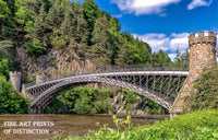 Arched Bridge with Stone Pillars in a Scenic Landscape Premium Print