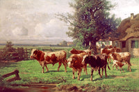 Cattle Herd at Dachau painted by Adolf Chelius