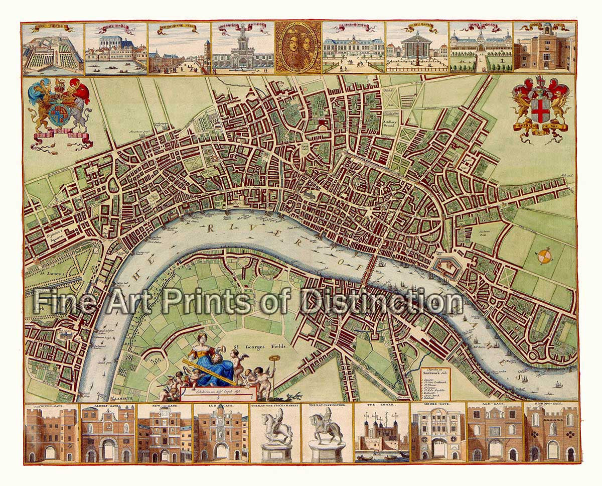 17th Century Map of London by Wenceslaus Hollar
