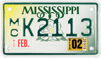 2002 Mississippi Motorcycle License Plate