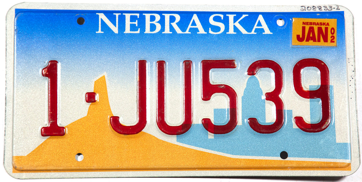 2002 Nebraska car license plate from Douglas county in excellent minus condition