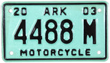A classic 2003 Arkansas motorcycle license plate