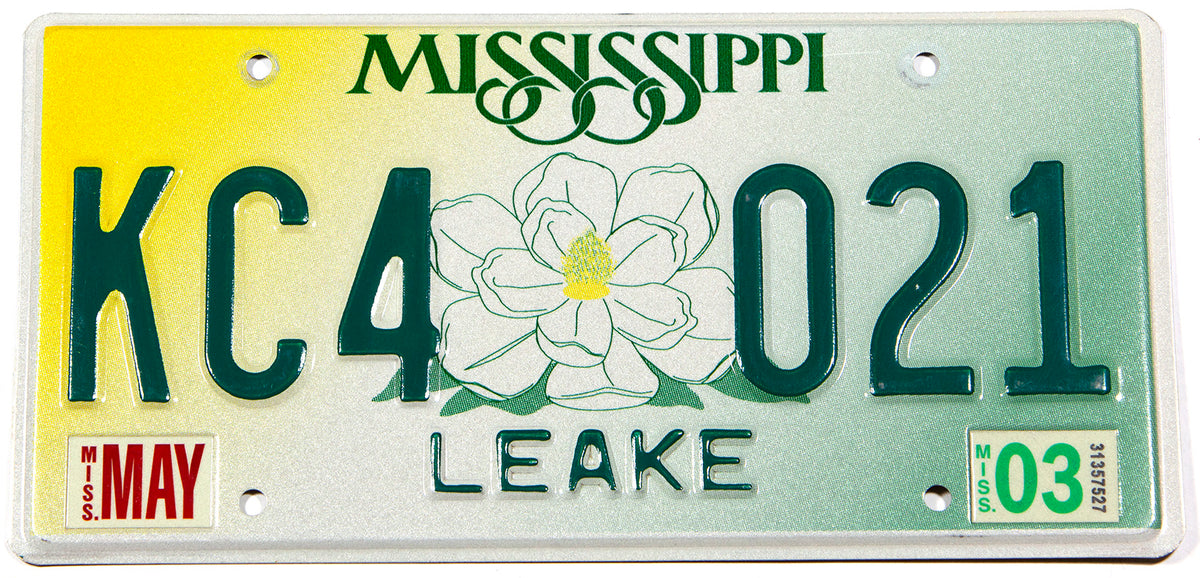 A scenic 2003 Mississippi car license plate in excellent condition