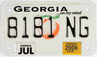 2006 Georgia Motorcycle License Plate which grades Excellent