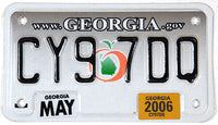 A scenic 2006 Georgia motorcycle license plate in excellent plus condition