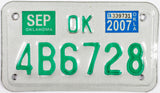 2007 Oklahoma Motorcycle License Plate