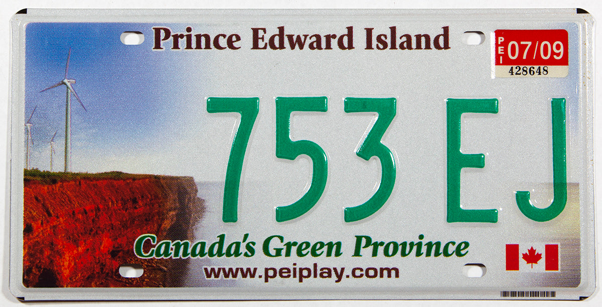 A classic 2009 Windmills passenger car license plate from the Canadian province of Prince Edward Island in near mint condition