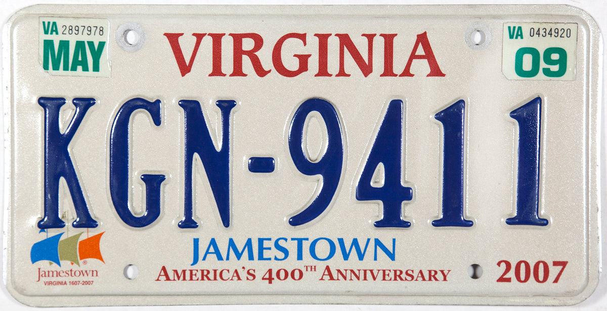 A 2009 Virginia passenger car license plate celebrating 400 years of Jamestown