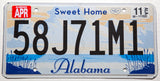 2011 Sweet Home Alabama car license plate in excellent to excellent minus condition