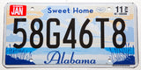 2011 Sweet Home Alabama car license plate in NOS Excellent plus condition