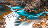 Waterfall and Lazy Swirling River in a Watery Landscape Premium Print