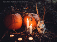 Halloween Scary Scene with Antelope Skull, Pumpkins and Candles Art Print
