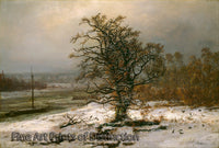 Oak Tree by the Elbe in Winter by Johan Christian Dahl
