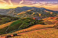 Agricultural Landscape of a Town Surrounded by Steep Fields Premium Print
