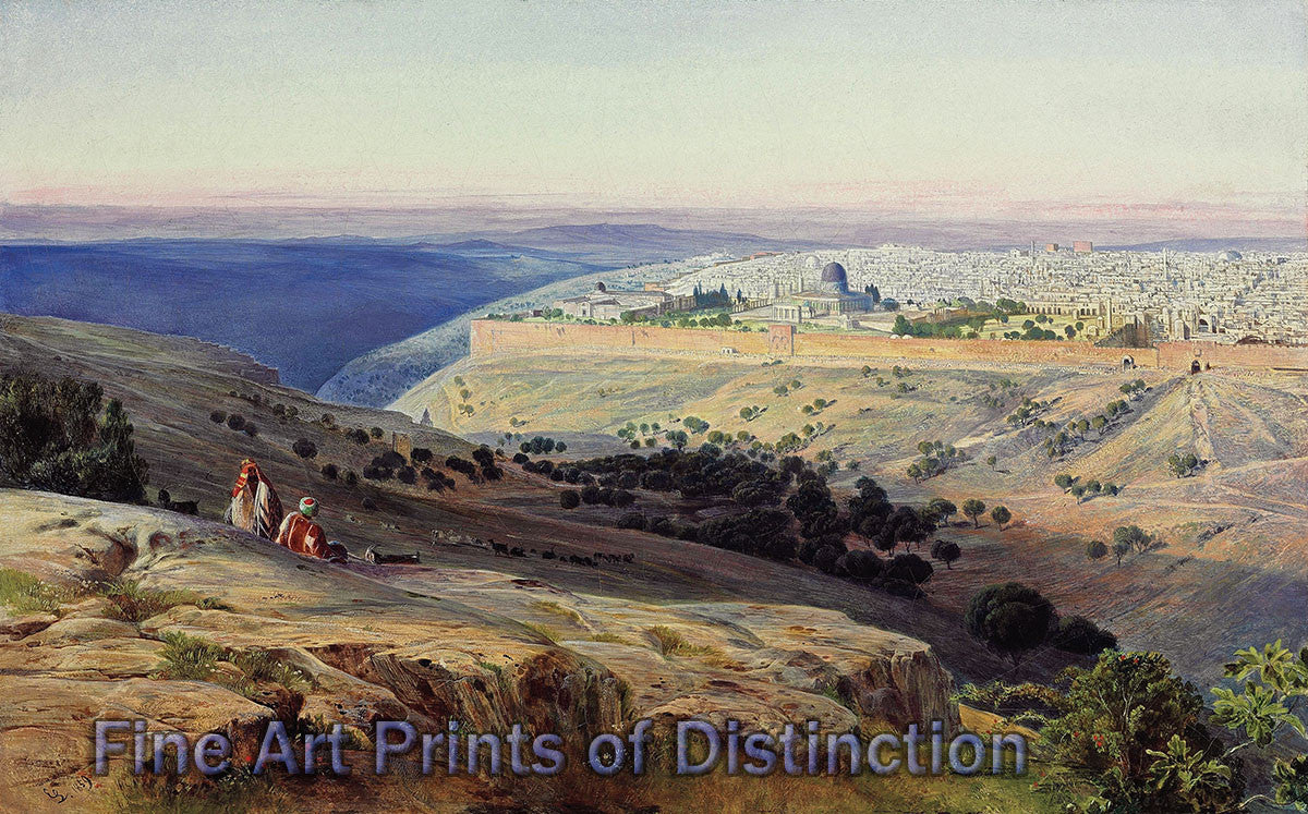 Jerusalem from the Mount of Olives, Sunrise by Edward Lear