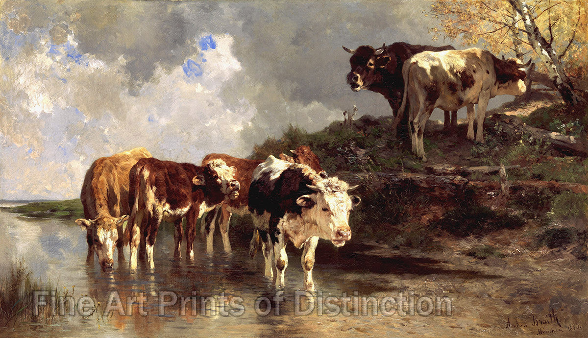 Cattle at the Watering Hole which was painted by Anton Braith