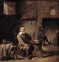 The Old Beer Drinker painted by David Teniers the Younger Art Print
