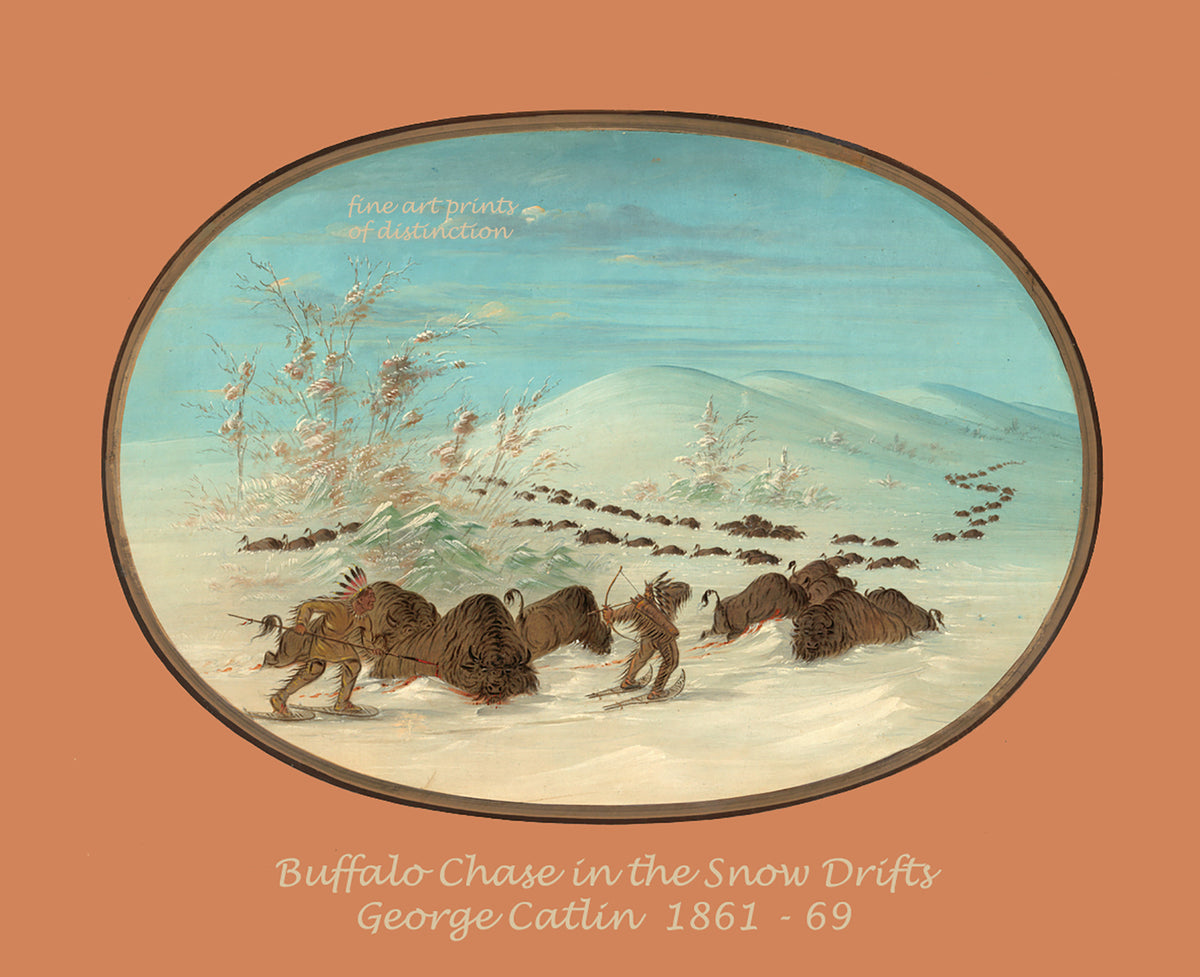 Buffalo Chase in the Snowdrifts by George Catlin premium western print