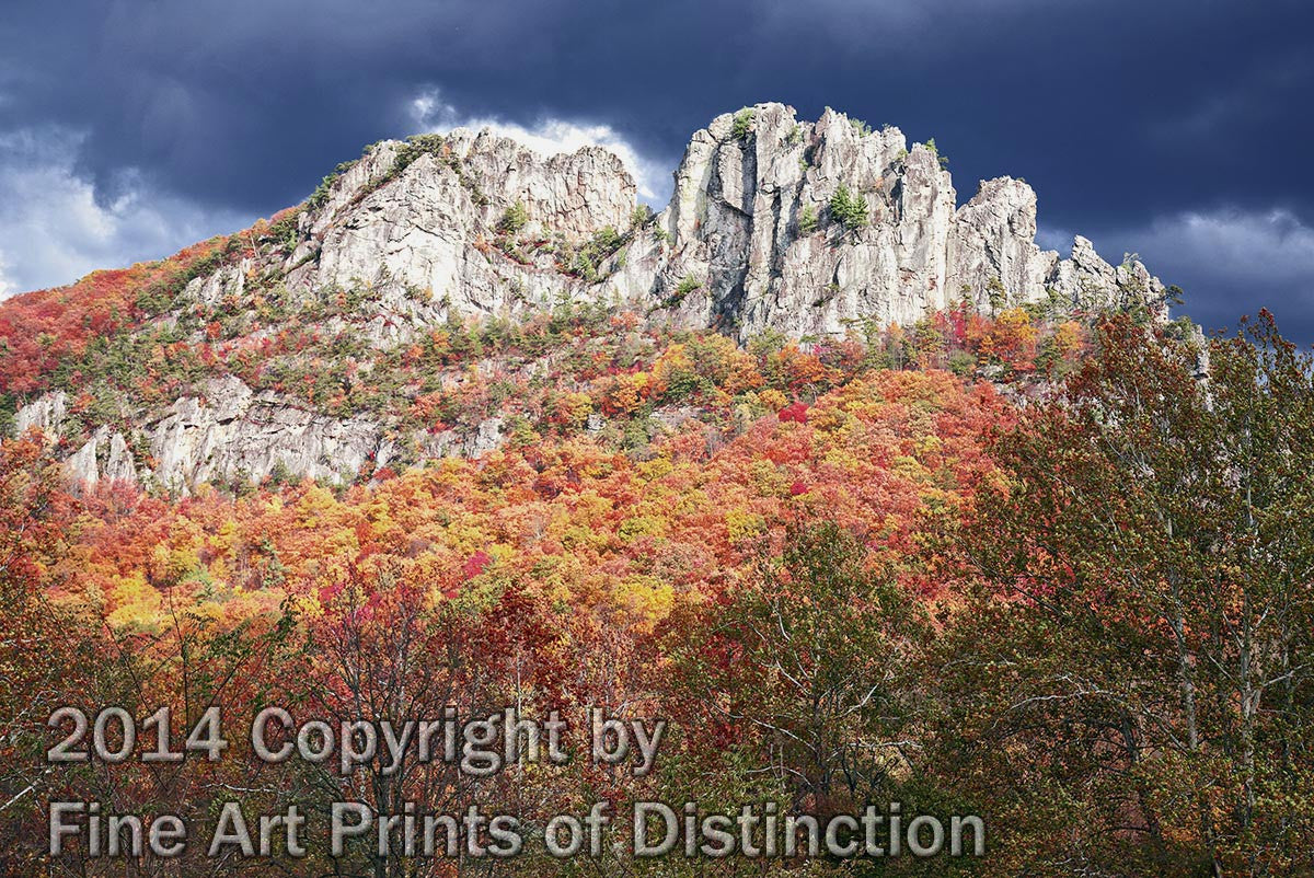 Seneca Rocks Under Brewing Storm Clouds Art Print