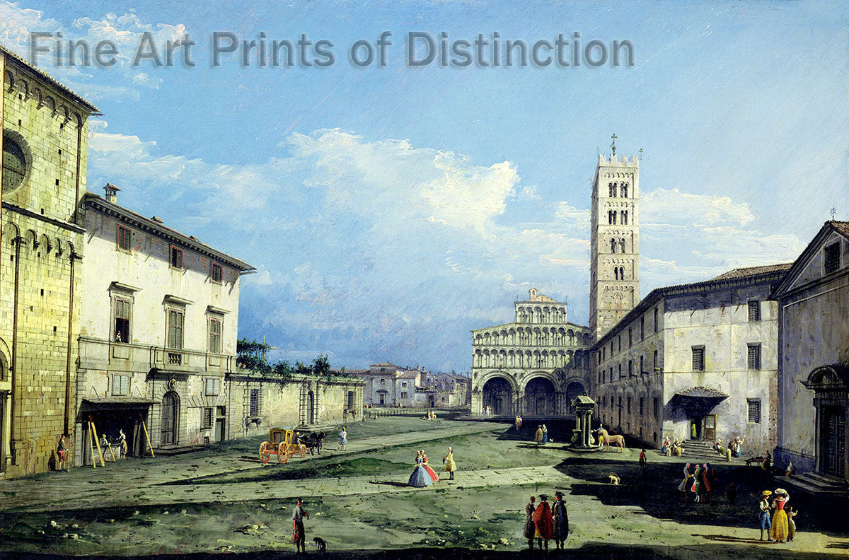 The Piazza San Martino, Lucca by Bernardo Bellotto