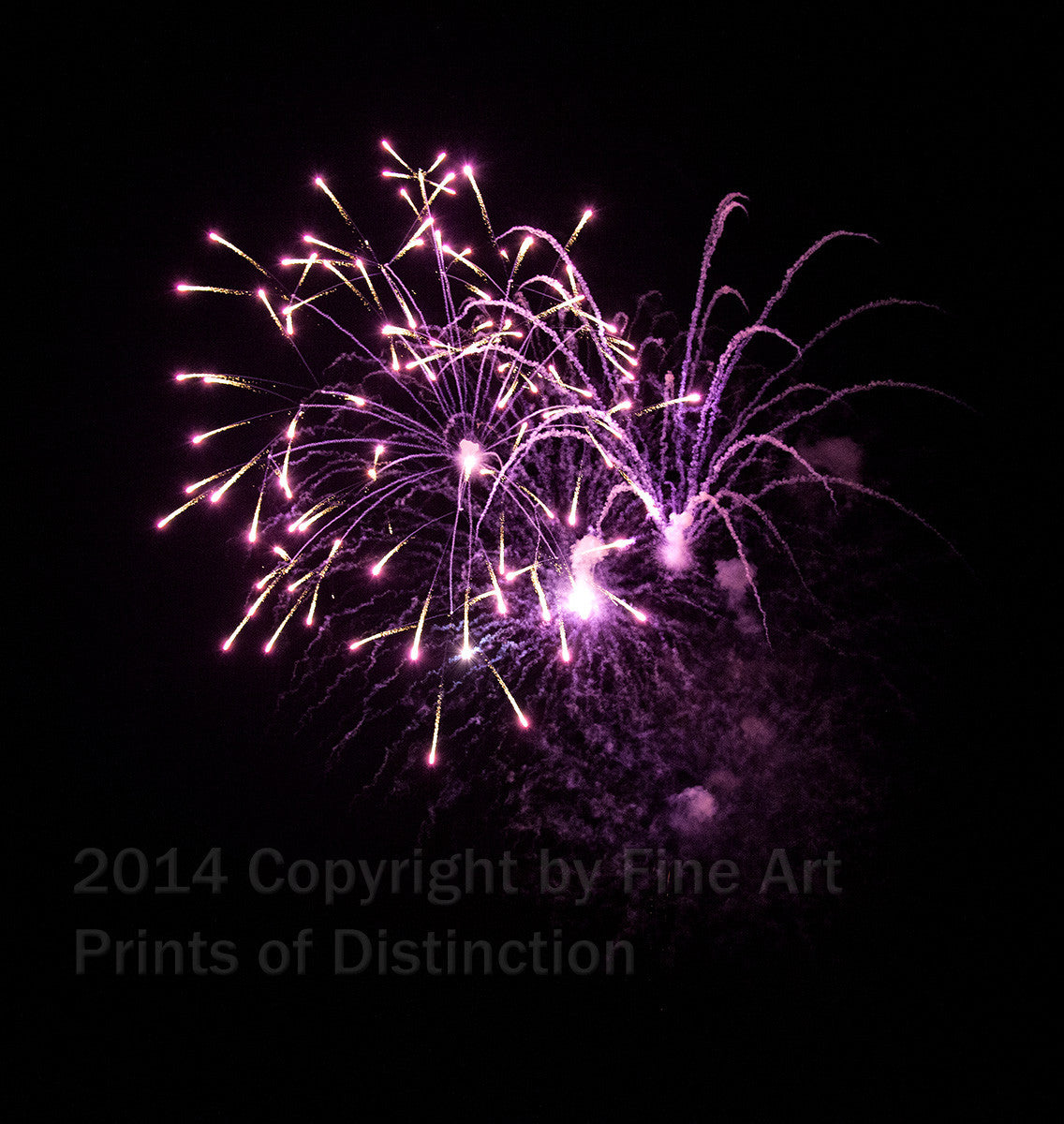 Purple and White Fireworks Art Print