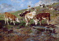 Cattle at the Klausen Pass, painted by Anton Braith