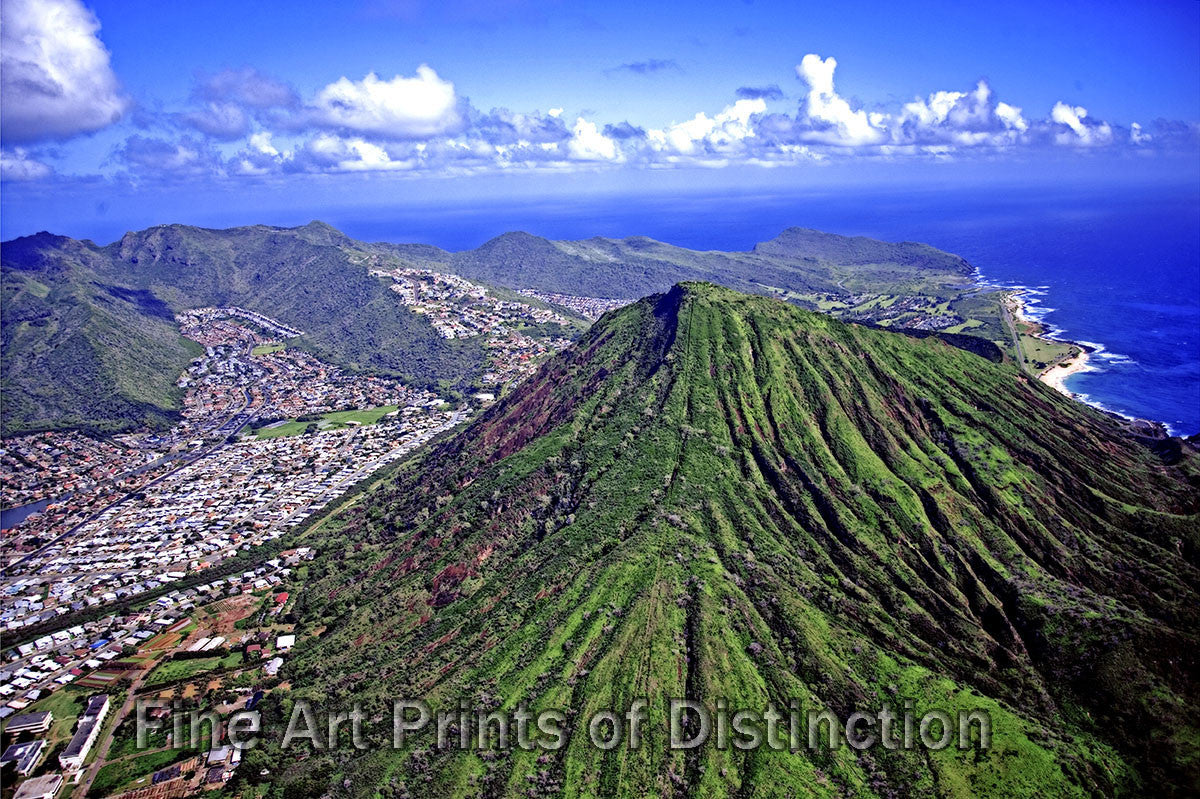 Aerial View of Honolulu and Diamond Head Hawaii Art Print