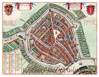 1649 Map of Gouda, Holland by J. Blaeu