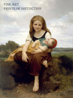 The Elder Sister painted by William Bouguereau in 1869