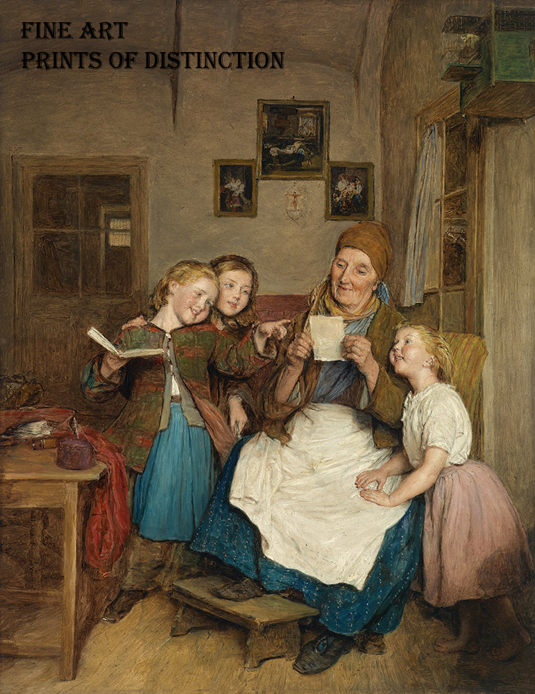 A Grandmother and three Grandchildren painted by the Austrian artist Ferdinand Georg Waldmuller in 1854