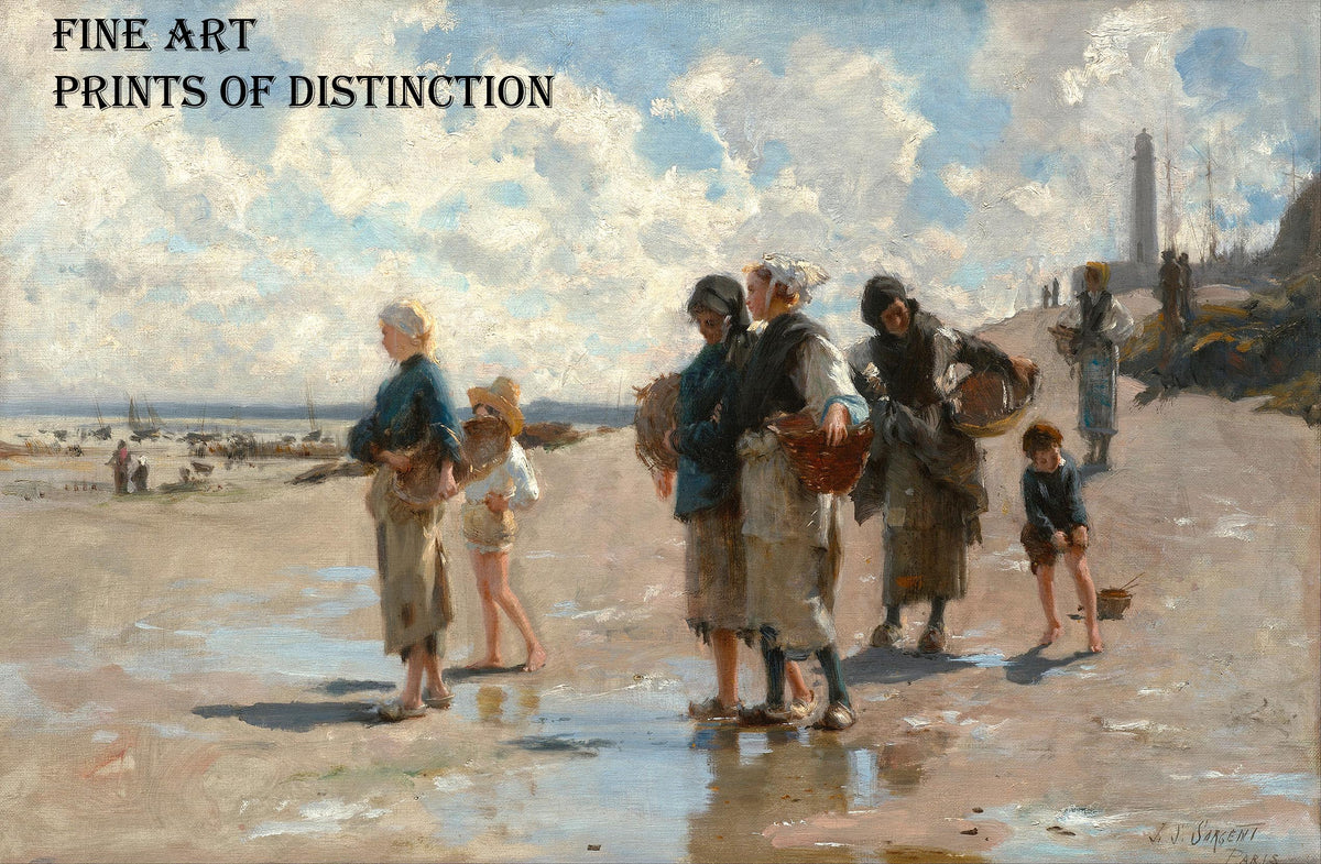Fishing for Oysters at Cancale painted by American artist John Singer Sargent in 1878