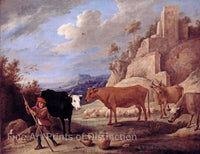 Shepherd with Flock in Landscape with Ruins painted by David Teniers the Younger
