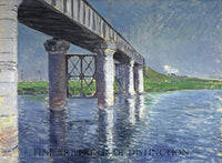 The Seine and the Railroad Bridge at Argenteuil painted by French Impressionist painter Gustave Caillebotte around 1887