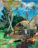 The Black Pigs painted by French Impressionist artist Paul Gauguin in 1891