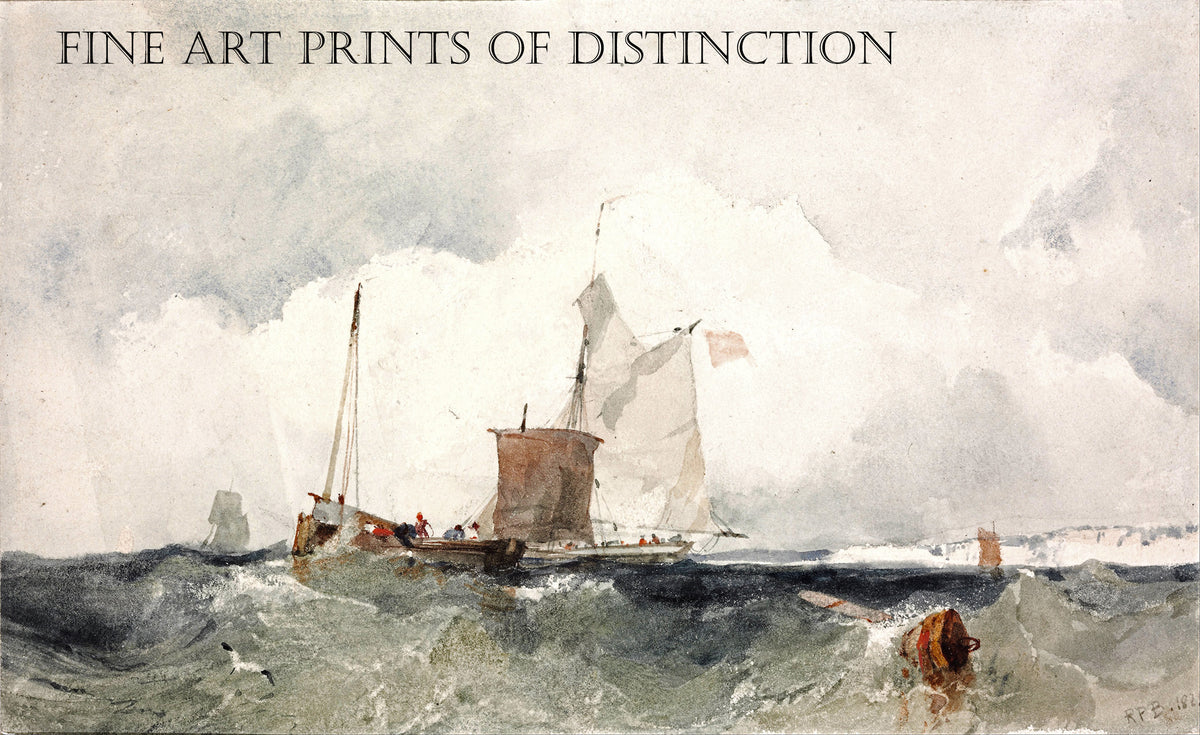 Fishing Vessels in a Choppy Sea painted by English artist Richard Parker Bonington in 1825