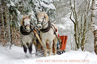Horses Pulling a Sleigh Through the Snowy Woods Country Decor Print