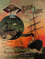 State Line Passenger Cruise Ships Advertising Print