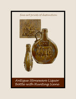 Museum Quality Poster style print of Antique Stoneware Whiskey Bottle with Hunting Scene painted by Charles Caseau