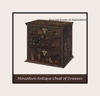Museum Quality poster print of an antique Miniature painted chest of drawers by the artist Charles Henning