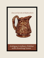 Crockery Pitcher with Hunting Scene painted by Ernest A Tower finished in a premium poster style