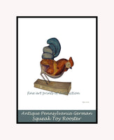 Premium poster style print of a Pennsylvania German Squeak Toy Rooster painted by Frank Mc Entee