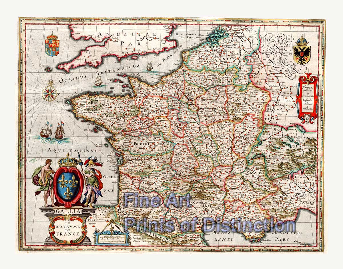 Map Of The Kingdom Of France By J Blaeu Brandywine General Store - Pars map