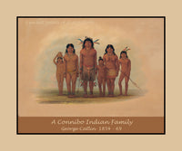 A Connibo Indian Family by the American West artist George Catlin Premium Poster