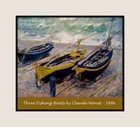 Three Fishing Boats painted by Claude Monet premium poster