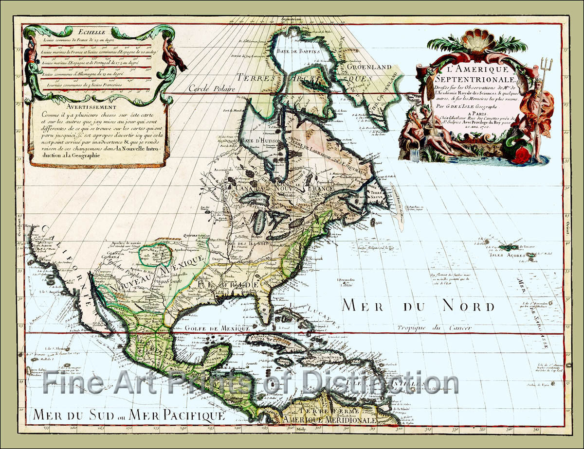 Map Of America In 1700.1700 Map Of North America By Guillaume De L Isle
