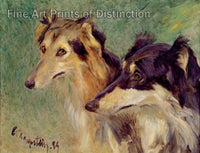 Kapstein, Carl Friedrich - Portrait of Two Borzoi Dogs Fine Art Print