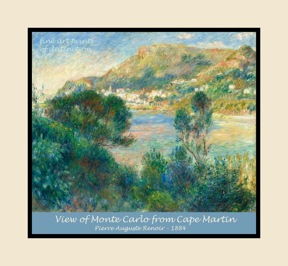View of Monte Carlo from Cape Martin painted by Pierre Auguste Renoir premium poster