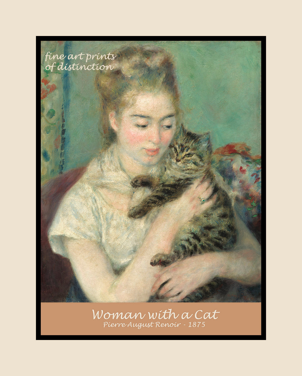 Woman with a Cat painted by Auguste Pierre Renoir premium poster
